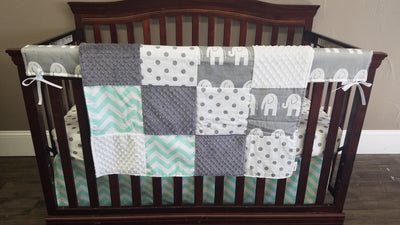 Next Day Ship - Gray Ele, Mint Chevron, and White Gray Dots