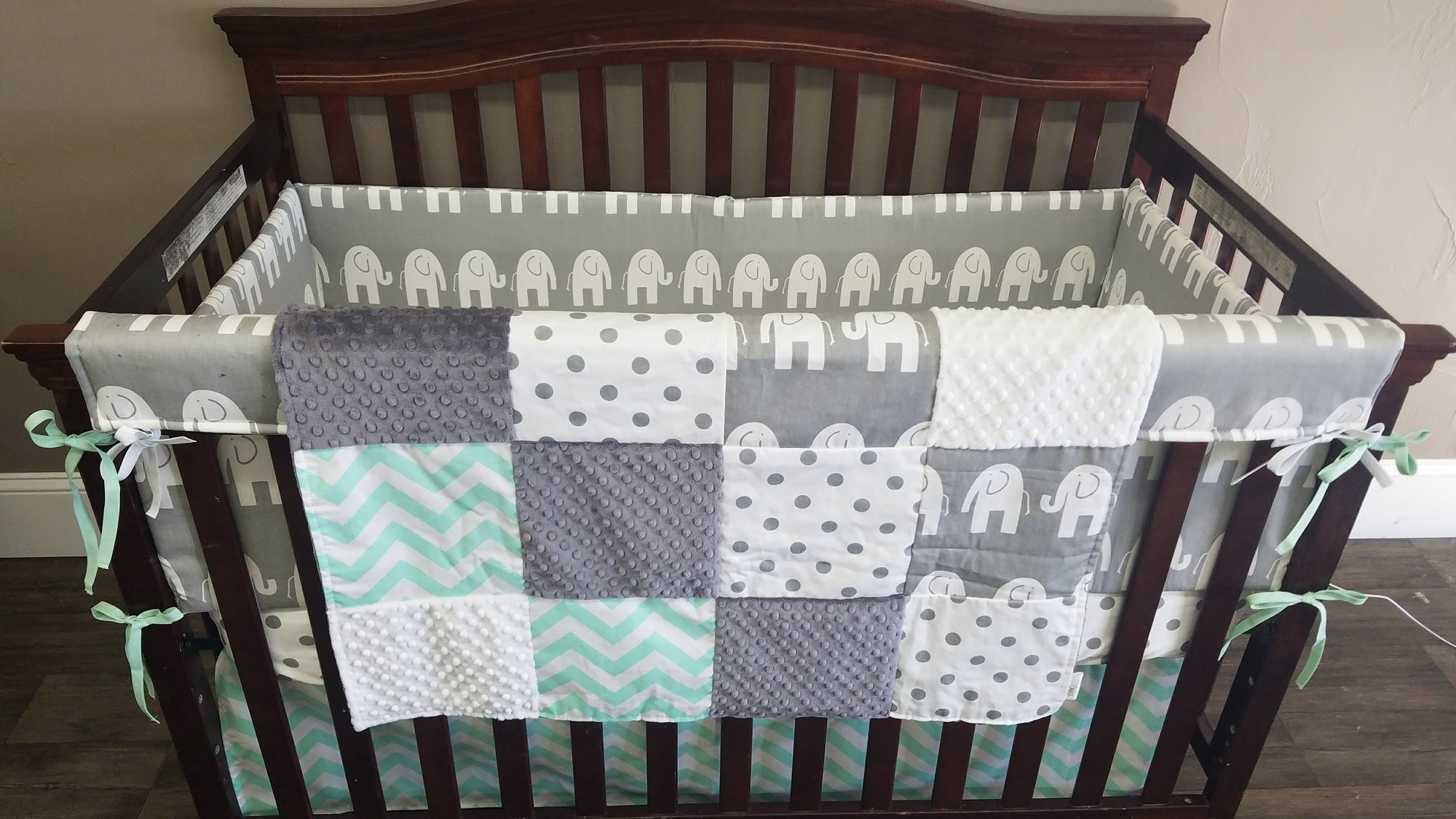 Ready to Ship Neutral Crib Bedding - Gray Elephant, Mint Chevron, Elephant Nursery Collection