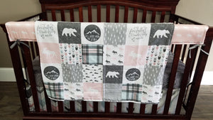 Custom Girl Crib Bedding - Blush, Light Aqua, and Gray Moose and Bears, Moose Bear Woodland Crib Bedding