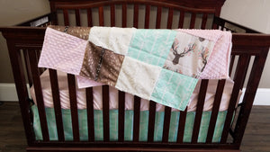 Ready to Ship Girl Crib Bedding- Tulip Fawn, Mint Arrow, Deer Skin Minky, Blush Minky, and Ivory Crushed Minky, Fawn Deer Nursery Set