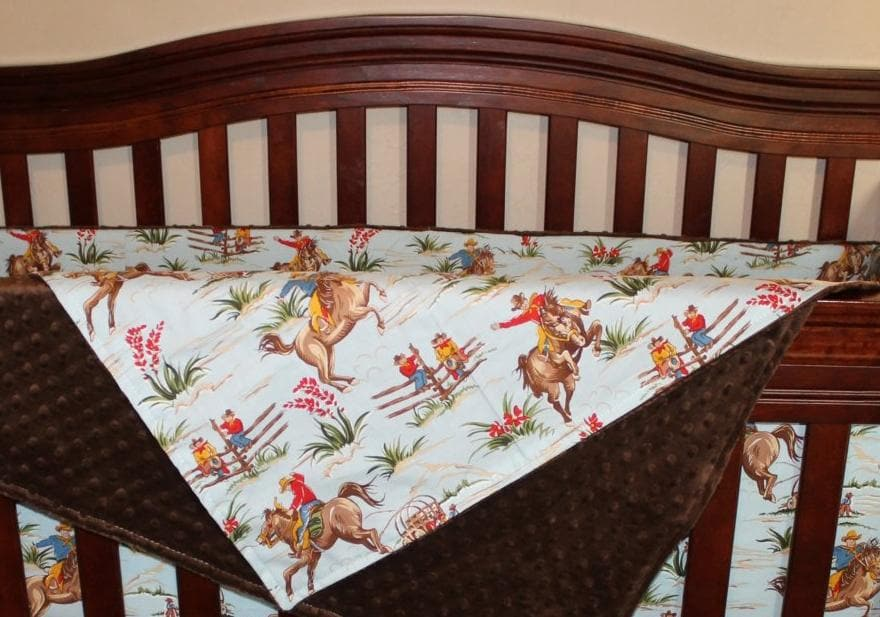 Standard Blanket - Barn Dandy Cowboys and minky blanket
