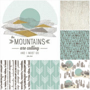Neutral Crib Bedding - Bears, Mountains, and trees