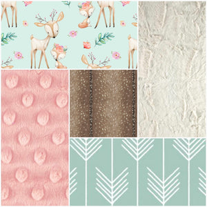 Custom Girl Crib Bedding - Fox and Deer, Mint Arrow, Deer Skin Minky, Blush, and Ivory, Fox and Deer Crib Bedding