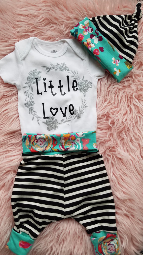 Last Chance - Baby Outfit - Black stripes and teal flowers pants and hat