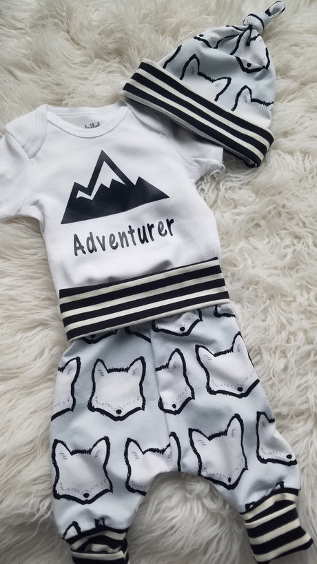 Baby Outfit - Adventure Mountain Shirt and Fox with black stripe pants and hat