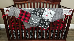 Custom Boy Crib Bedding - Little Man, Deer Arrows, Arrow, and Red Black Buffalo Check, Little Man Deer Nursery Set