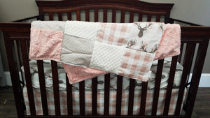 Ready to Ship Girl Crib Bedding- Tulip Fawn, Rose Gold Check, Peach Crushed minky, and Tan Dots