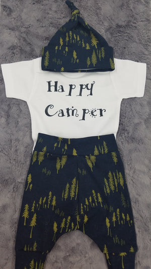 Baby Outfit - Happy Camper and navy forest