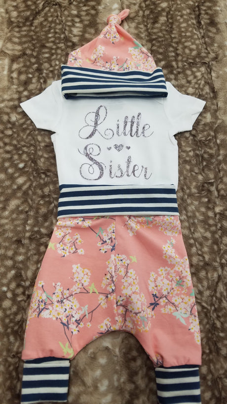 Last Chance - Baby Outfit - Little Sister with cherry blossom and navy stripe