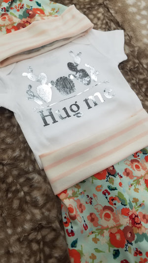 Baby Outfit - Hug Me Cactus Shirt with mint peach flowers and peach stripe