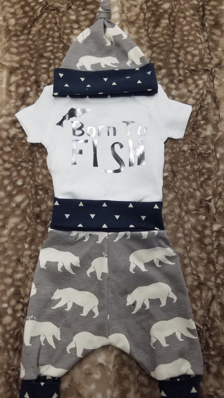 Baby Outfit - Born to Fish with bears and navy triangles