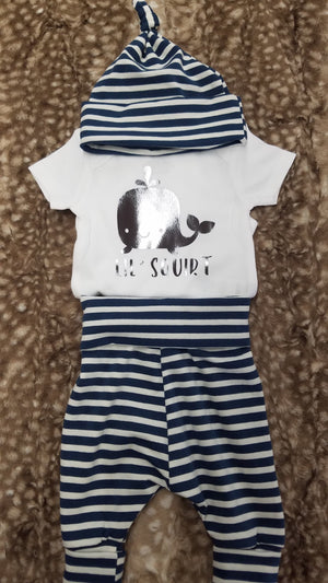 Baby Outfit - Lil' Squirt Whale shirt with navy stripe pants and hat