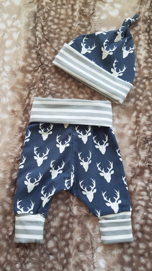 Baby Outfit - Dream Big Little One with Navy Buck with gray stripe
