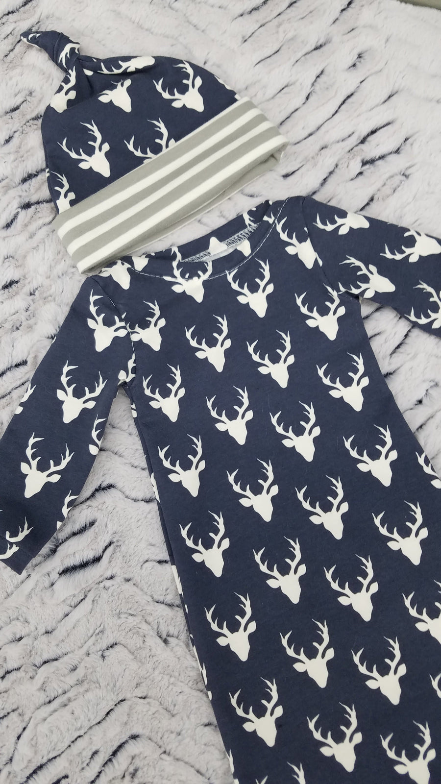 Baby Gown - Navy Buck with gray stripe Going Home Outfit