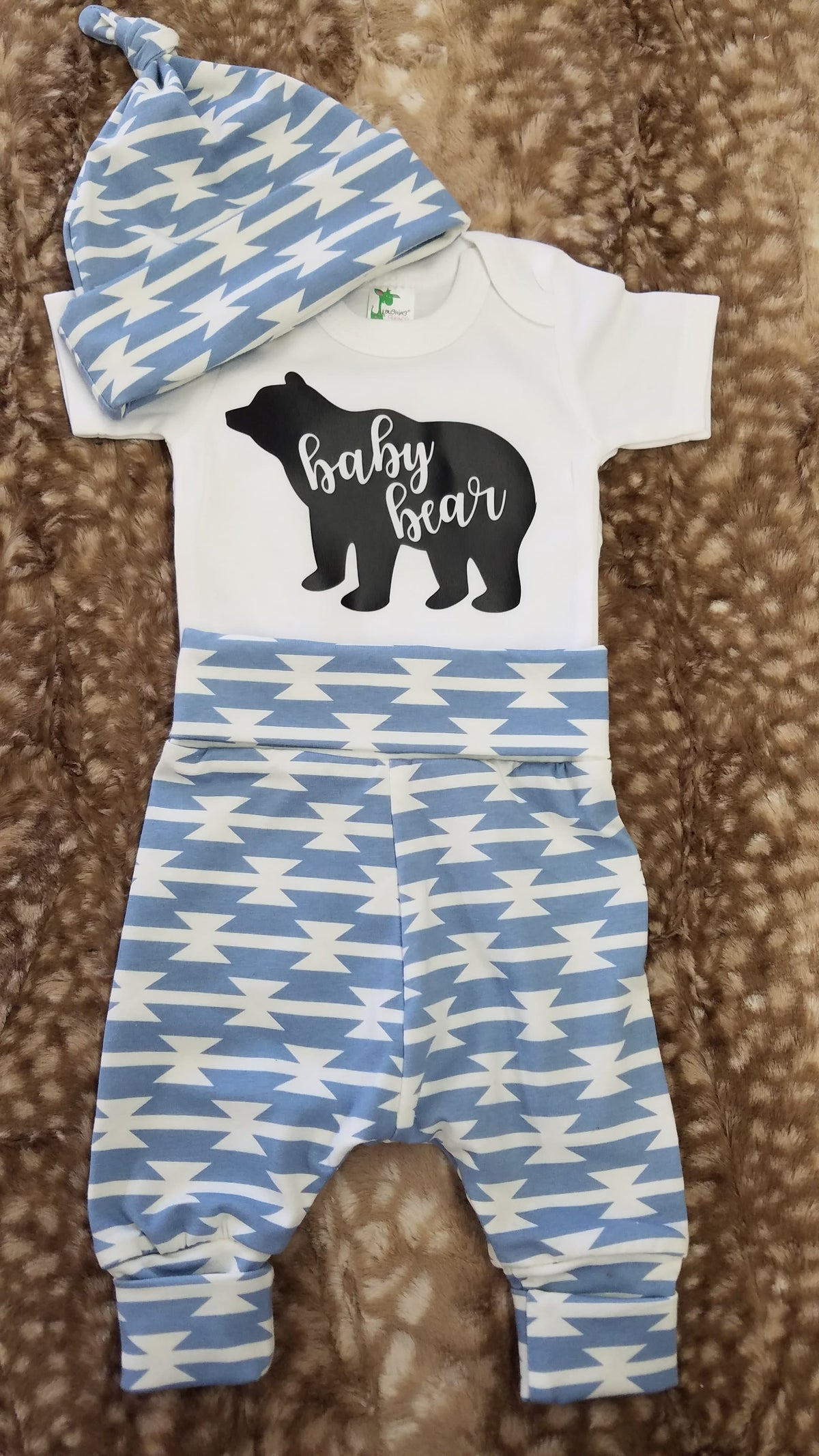 Baby Outfit - Baby Bear and Light blue tomahawk