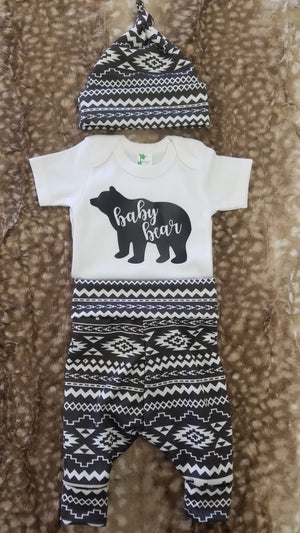 Baby Outfit - Baby Bear Shirt with Aztec pants and hat