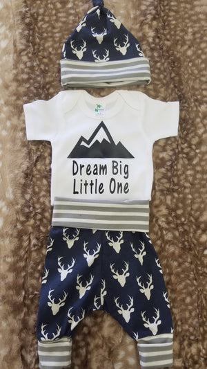 Baby Outfit - Dream Big Little One with Navy Buck with gray stripe Going Home Outfit