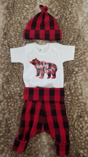 Baby Outfit - Baby Bear Shirt with Red Black Check