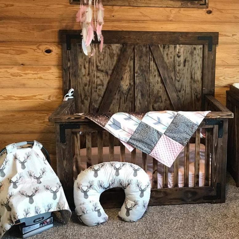 Custom Girl Crib Bedding - Fawn, Blush, Deer Skin Minky, Arrow, Fawn Collection