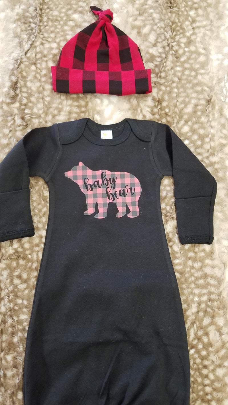 Baby Gown - Black Gown with Red Black Check Baby Bear Going Home Outfit