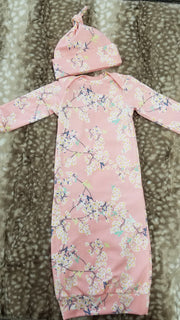 Baby Outfit -  Cherry Blossom Gown and Hat