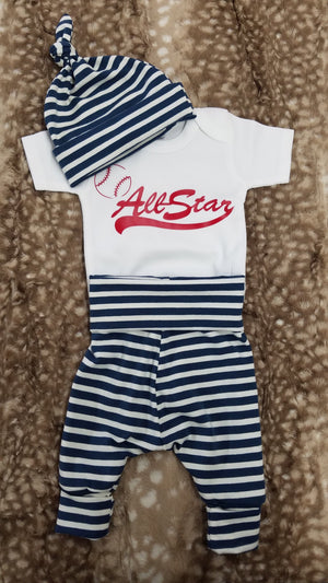 Baby Outfit - Baseball All Star and Navy Stripe Going Home Outfit