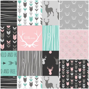 Custom Girl Crib Bedding - Little One Antlers, Wild and Free, Arrows, and blush, Antler Nursery Set
