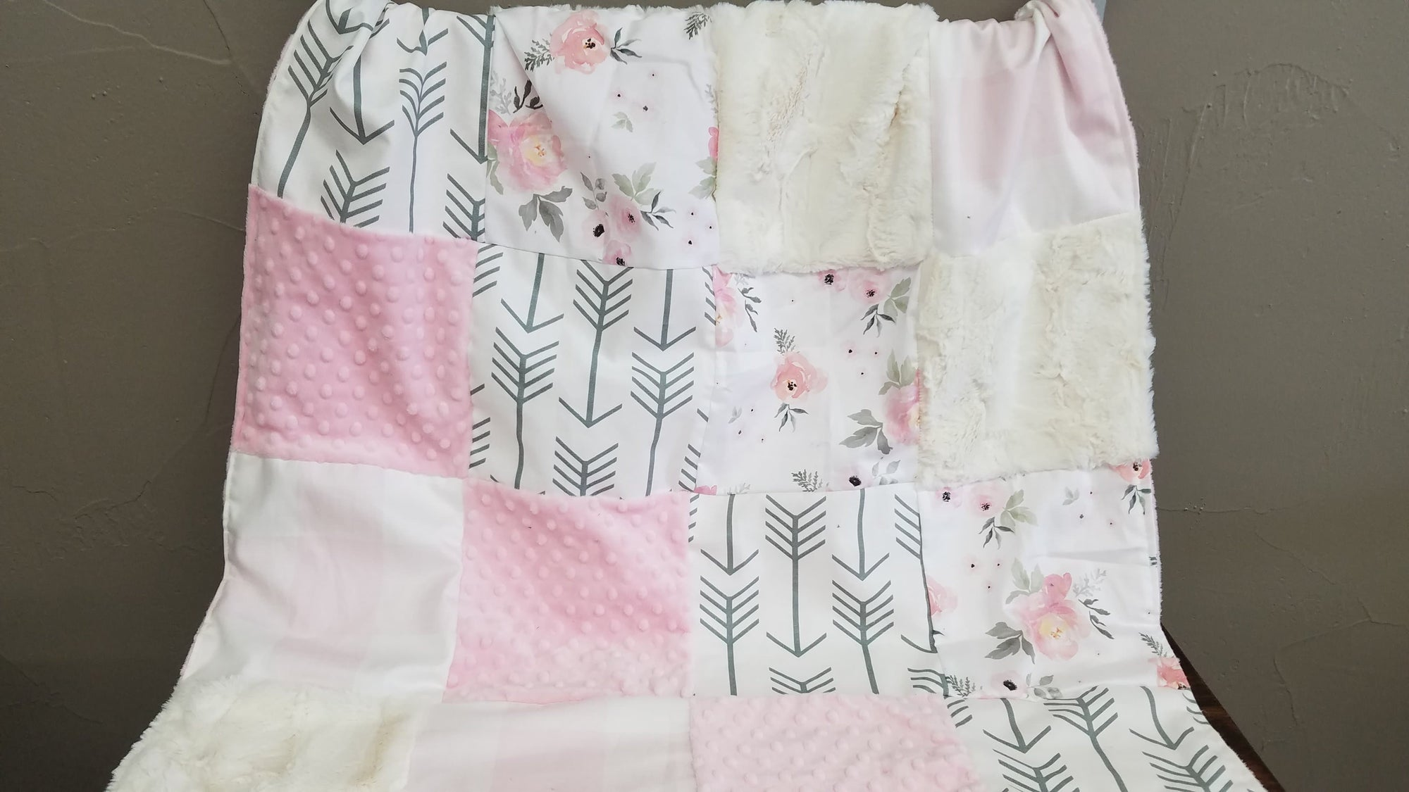 Custom Girl Crib Bedding - Watercolor Roses and Arrow Collection