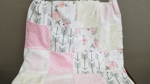 Custom Girl Crib Bedding - Flowers, Blush Check, and White Gray Arrows, Flower and Arrow Nursery Set