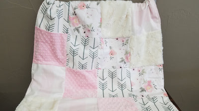 Ready to Ship Girl Crib Bedding - Watercolor Rose, Blush Check, and White Gray Arrows, Watercolor Roses and Arrow Crib Bedding