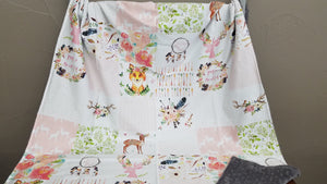 Standard Blanket - 32x42 Patchwork Print Blanket, deer, fawn, fox, dream catcher, feathers, flowers