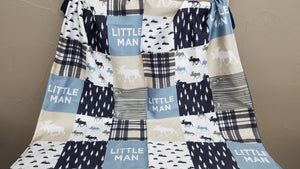 Little Man Moose Patchwork Baby Blanket or Quilted Comforter-Tan, Navy - Baby, Toddler, Twin, Full, Queen