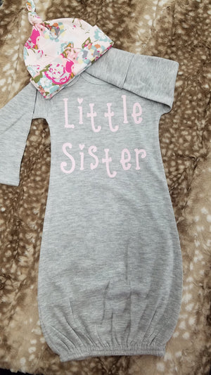 Baby Outfit - Heather Gray Gown with light pink Little Sister