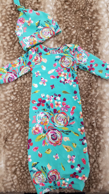 Baby Outfit - Teal Floral Gown and Hat