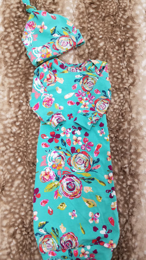 Baby Gown - Teal Floral Going Home Outfit