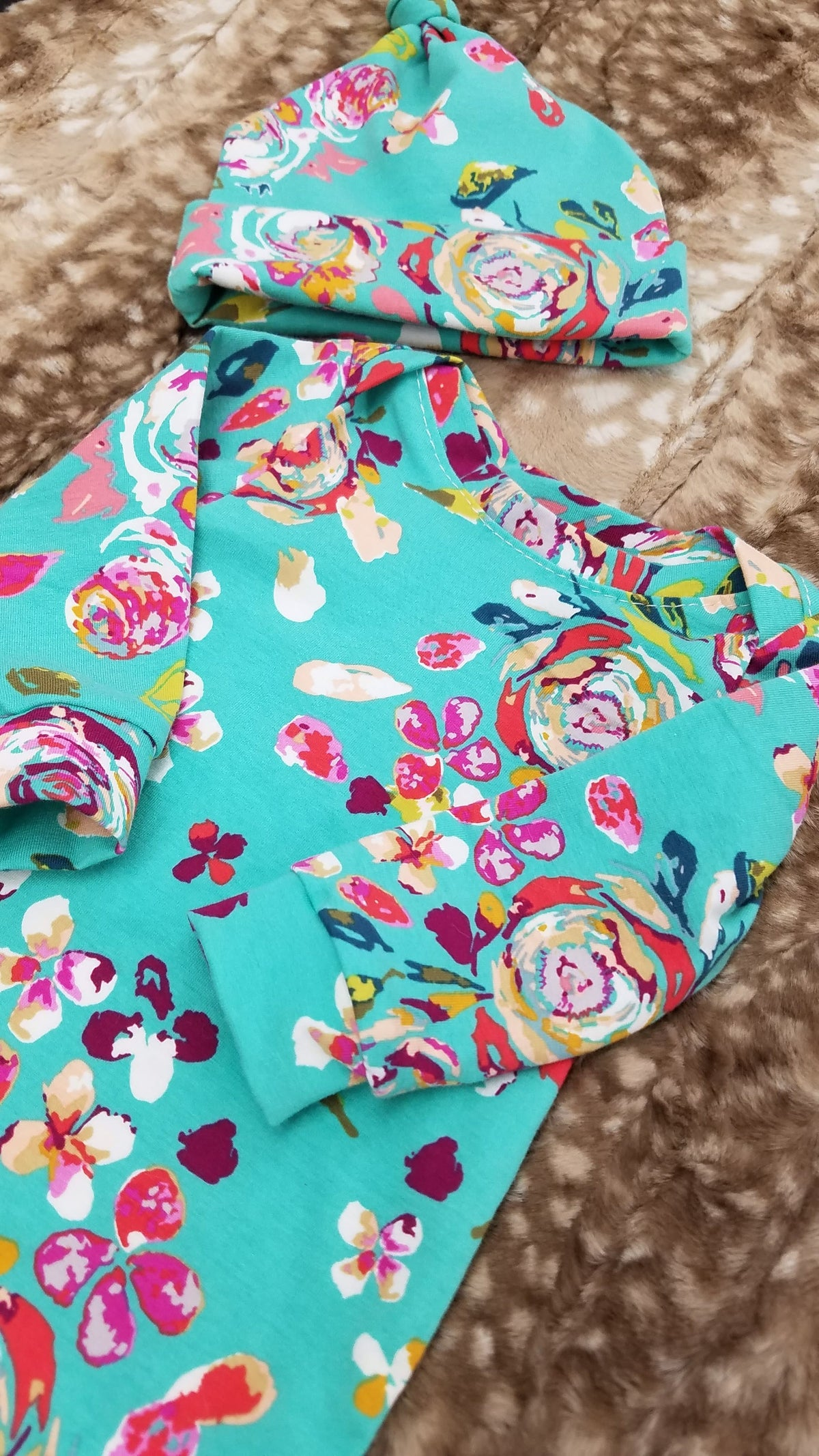 Baby Gown - Teal Floral