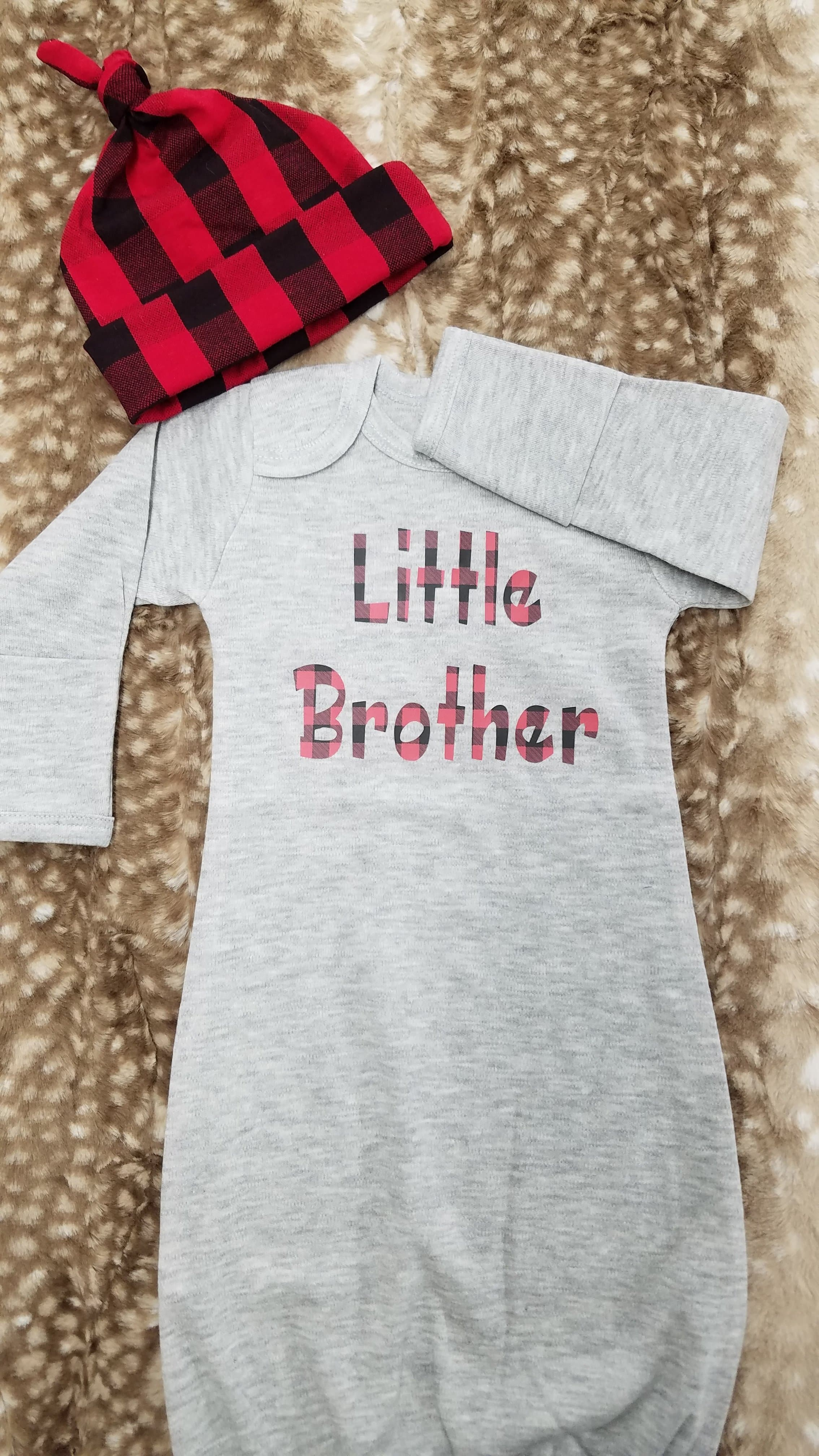 Baby Gown - Heather Gray Gown with Red Black Check Little Brother ...
