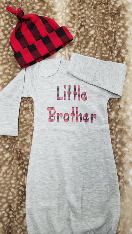 Baby Outfit - Heather Gray Gown with Red Black Check Little Brother
