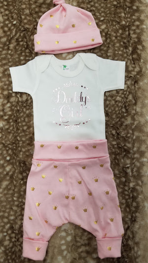 Baby Outfit - Daddy's Girl Shirt with Princess Crown pants and hat