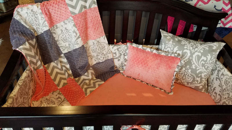 Ready to Ship Girl Crib Bedding - Coral, Gray Chevron, and White Gray Damask, Elegant Nursery Collection