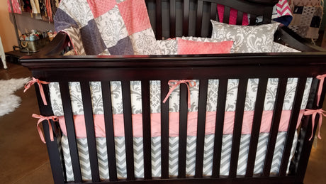 Ready to Ship Girl Crib Bedding - Coral,Gray Chevron, and White Gray Damask