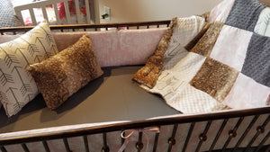 2 Day Ship Girl Crib Bedding - Bella Pink Damask, Fawn Minky, and White Gray Arrows, Woodland Crib Bedding