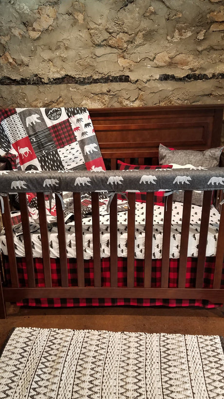 Custom Boy Crib Bedding - Adventure, Gray Bear, red black check, and mountains
