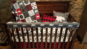 Custom Boy Crib Bedding - Adventure, Gray Bear, red black check, and mountains, Adventure Nursery Set