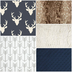 Ready to Ship Boy Crib Bedding - Navy Buck, White Tan Arrows, Fawn minky, and Ivory Crushed Minky, Buck Fawn Nursery Set