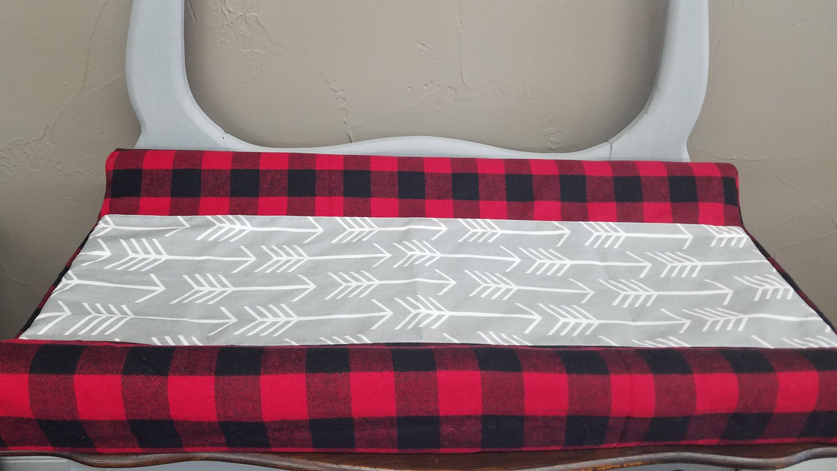 Deluxe Changing pad cover - Red black check with gray arrow