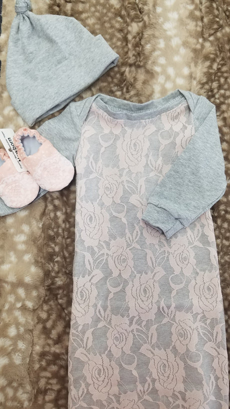 Baby Outfit - Gray with Peach Lace Overlay Gown and Hat