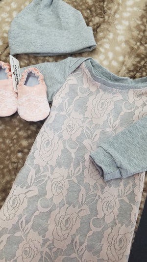 Baby Gown - Gray with Peach Lace Overlay Going Home Outfit