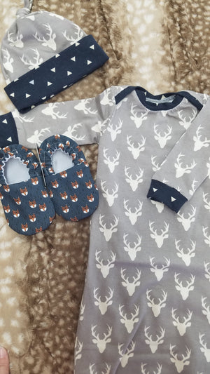 2 Day Ship - Baby Gown - Gray Buck with navy triangle Going Home Outfit