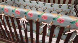 2 Day Ship Baby Girl Crib Bedding - floral fawn, fawn minky, and feather roses, Woodland Crib Bedding